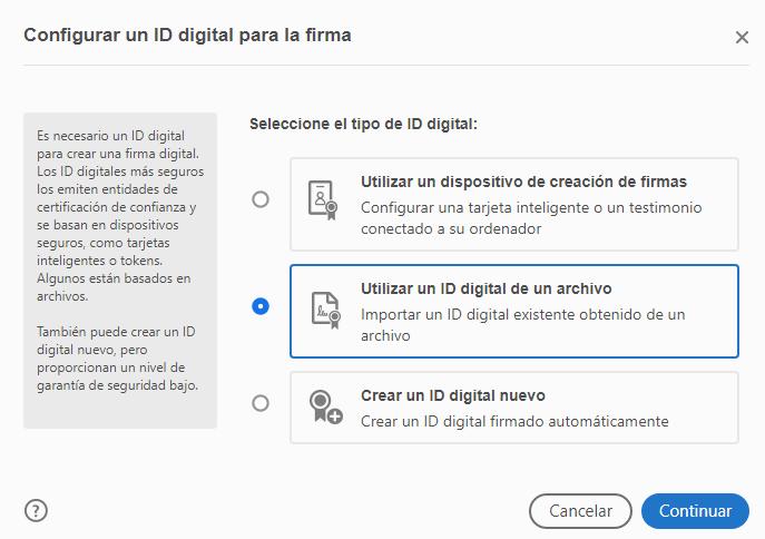 """Ventana con la casilla """"Utilizar un ID digital de un archivo"""" y el botón """"Continuar""""."""