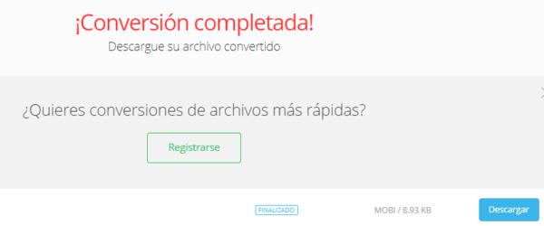"""Mensaje de confirmación de que se terminó la conversión de tu archivo, y el botón """"Descargar"""" de Convertio."""