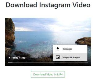 """Vídeo en DownloadInstagramVideos en tamaño pequeño con el botón """"Descargar""""."""