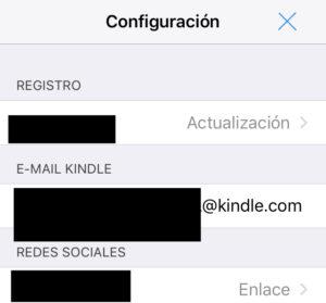 """Ventana de la opción """"Configuración"""" con tu email de Kindle."""