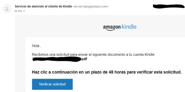 "Botón ""Verificar solicitud"" del email que Amazon te va mandar si envías un correo a tu email de Kindle."