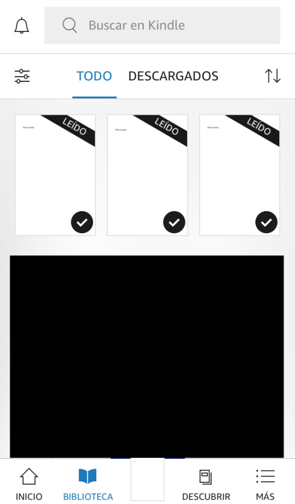 Tu biblioteca de la app de Kindle, con el libro PDF que te mandaste a tu email de Kindle.