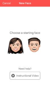 Cara de un chico y una chica, los cuales aparecen mientras creas tu emoji en Emoji Me.