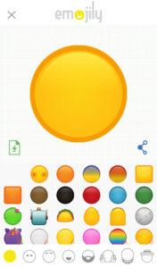 Lienzo, círculo amarillo, y plantillas para crear tu emoji en Emojily.