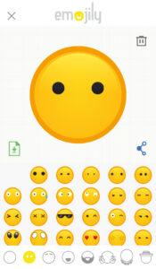 Plantillas de ojos seleccionadas en Emojily, y par de ojos puestos encima del emoji que estás creando.