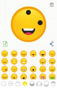 Ojos rotados y boca agregada a tu emoji, e icono de la boca seleccionada en el pie de la app de Emojily.