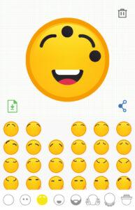 Cejas agregadas a tu emoji, icono del bote de basura, e icono de las cejas seleccionado en el pie de la app.