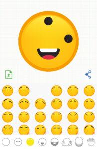 Cejas eliminadas de tu emoji, e icono del folio con la flecha apuntando hacia abajo.
