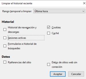 """Ventana para borrar las cookies en Firefox, en donde sólo la casilla """"Cookies"""" está marcada."""