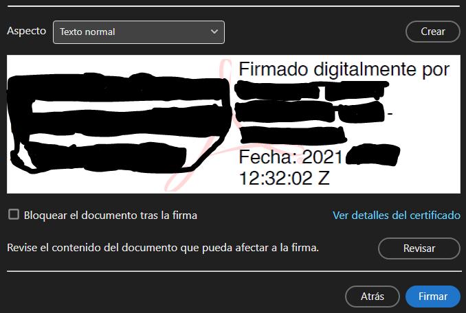 """Botón """"Firmar"""" de la ventana que te muestra una vista previa de tu firma con tu certificado digital."""