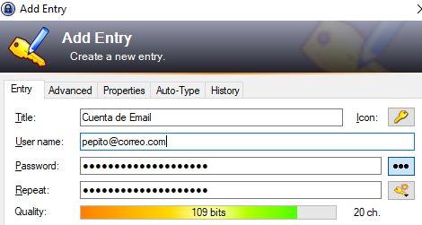 Gestor de contraseñas KeePass, en donde el usuario está guardando su nombre de usuario y su contraseña de una de sus cuentas.