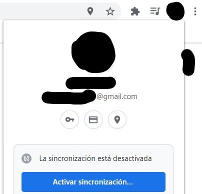 """Ventana que aparece al clicar en el icono del círculo en Chrome, con el botón """"Activar sincronización…""""."""