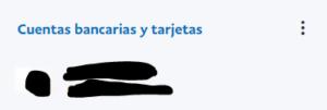 """Enlace que dice """"Cuentas bancarias y tarjetas""""."""