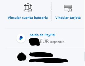 Lista de bancos y tarjetas de débito y/o crédito registrados en tu cuenta de PayPal.