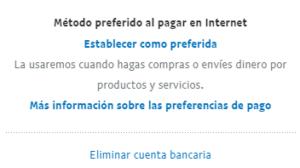 """Opción """"Eliminar cuenta bancaria"""", el cual te aparece si seleccionas una de tus cuenta bancarias de PayPal."""