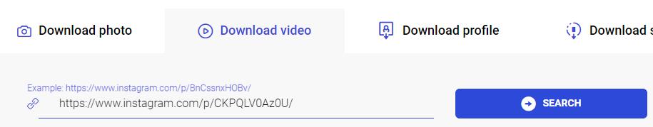 """Casilla para insertar la URL del vídeo de Instagram y el botón """"Search"""" de Ingramer."""