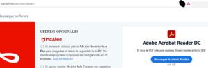Página web en donde puedes descargar el Adobe Acrobat Reader DC.