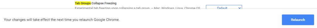 """Botón """"Relaunch"""" de Chrome, el cual aparece después de seleccionar """"Enabled"""" en el menú de Tab Groups."""