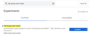 """Función """"Tab Groups Auto Create"""" con su menú desplegable y con la opción """"Enabled"""" seleccionada."""