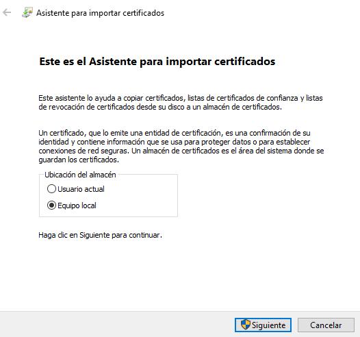 """Casilla """"Equipo local"""" del asistente para instalar el certificado digital."""