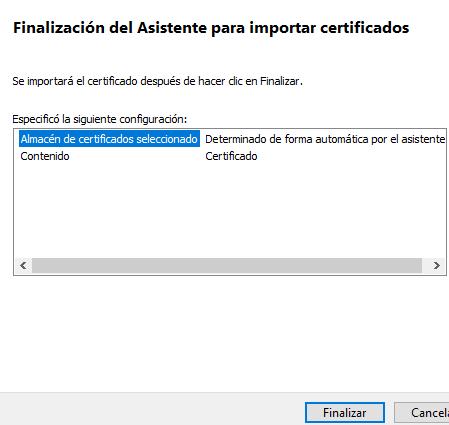 """Botón """"Finalizar"""" del asistente de instalación del certificado digital."""