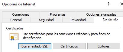 """Botón """"Certificados"""" de la pestaña """"Contenido"""" de la ventana de """"Opciones de Internet""""."""
