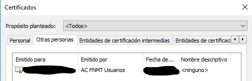 """Pestaña """"Otras personas"""" de la ventana """"Certificados"""" con el certificado digital que fue instalado anteriormente."""