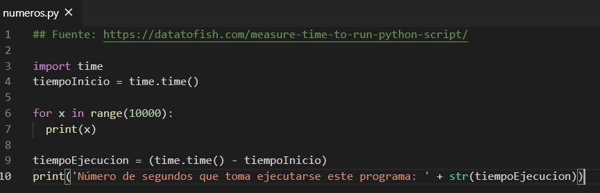 Código de un programa escrito en Python que te muestra los números del 0 al 9999, y te dice cuánto tiempo se toma en ejecutar el programa.