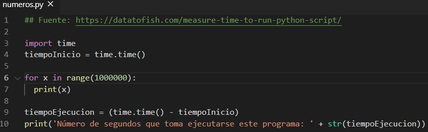 Código de un programa que te muestra todos los números del 0 al 999.999, y te dice cuánto tiempo se tomó en ejecutarse el programa.