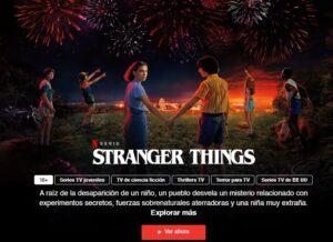 """Serie """"Stranger Things"""" de Netflix, con el botón """"Ver ahora""""."""