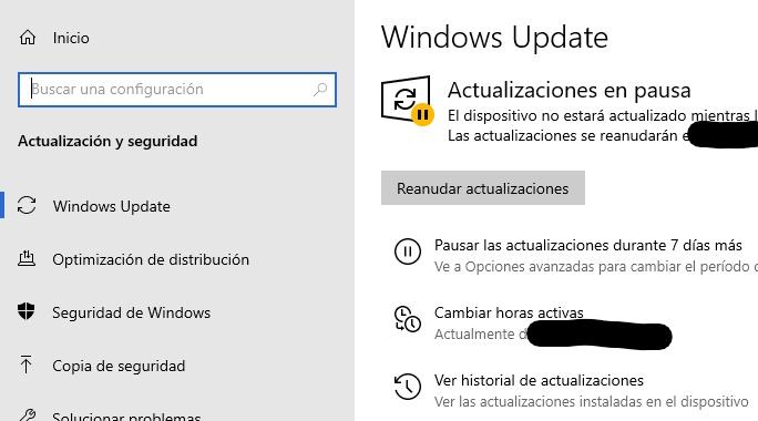 """Menú de configuración de Windows Update con la opción """"Ver historial de actualizaciones""""."""