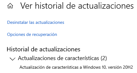 """Opción """"Ver historial de actualizaciones"""" de Windows Update con la lista de actualizaciones instaladas. Se observa que la versión más reciente de Windows 10 instalada es la 20H2."""