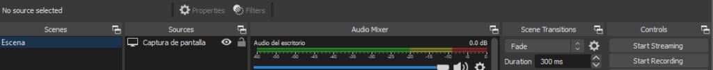 """Botón """"Start Recording"""" del OBS Studio."""