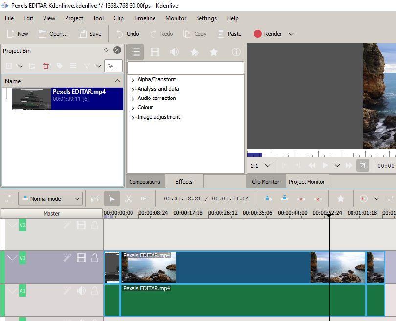 Editor de vídeos de Kdenlive con el vídeo grabado por el OBS Studio, en donde se están recortando el principio y el final del vídeo.