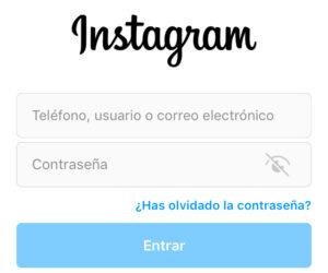 """Ventana de inicio de sesión de Instagram con el enlace """"¿Has olvidado la contraseña?"""""""