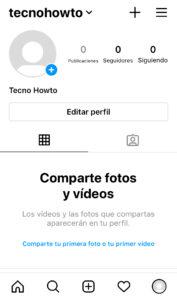 Perfil de tu cuenta de Instagram con la sesión iniciada.