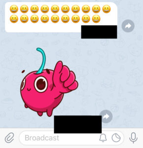 Emojis tradicionales y stickers en la app de Telegram.