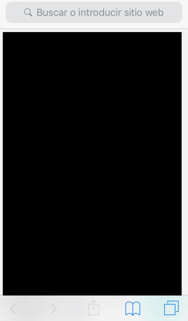 App de Safari en iPhone, con el icono del libro abierto en el pie de la app.