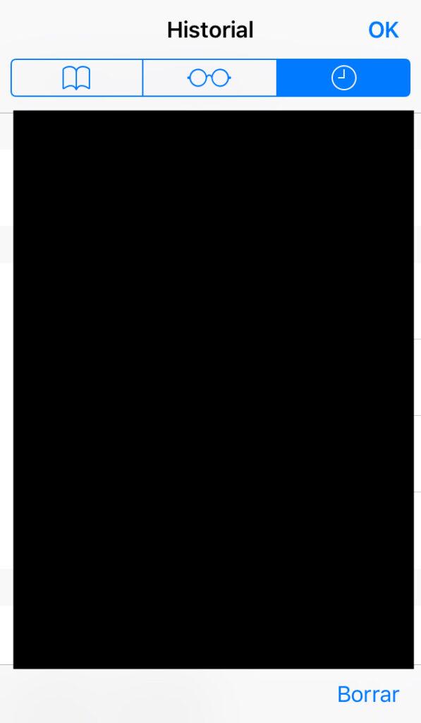 """Icono del reloj y la opción """"Borrar"""" de la app de Safari."""