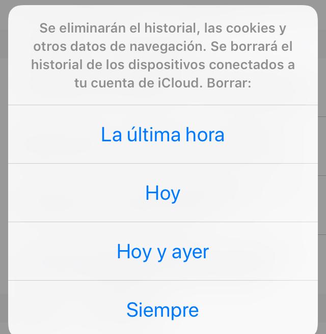 Modal para borrar el historial y las cookies de Safari, con la lista de los rangos de tiempo en los que puedes borrar tus cookies.