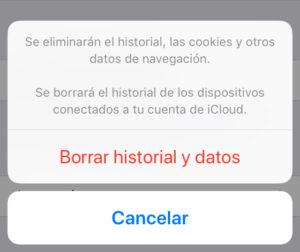 """Modal para borrar tus cookies y tu historial de Safari en iPhone, con la opción """"Borrar historial y datos""""."""