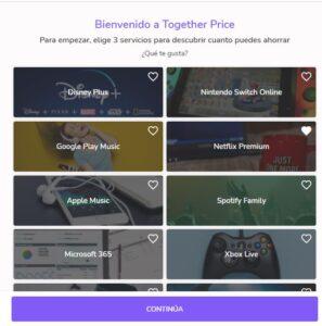 Página de Together Price para escoger tus tres servicios en la nube favoritos mientras creas tu cuenta.