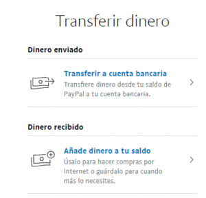 """Opción """"Transferir a cuenta bancaria"""" de PayPal."""