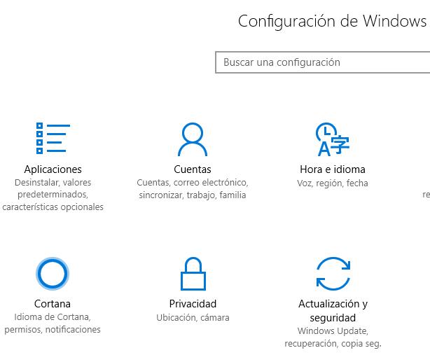 """Opción """"Actualización y seguridad"""" del menú de configuración de Windows."""