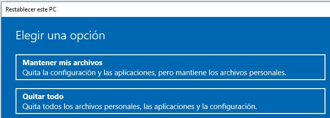 """Botón """"Mantener mis archivos"""" de la ventana del asistente para restablecer Windows 10."""
