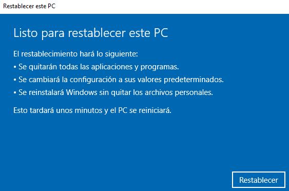 """Botón """"Restablecer"""" del asistente para restablecer Windows 10."""