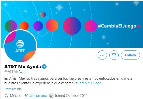 Cuenta de Twitter de atención al cliente de AT&T de México.