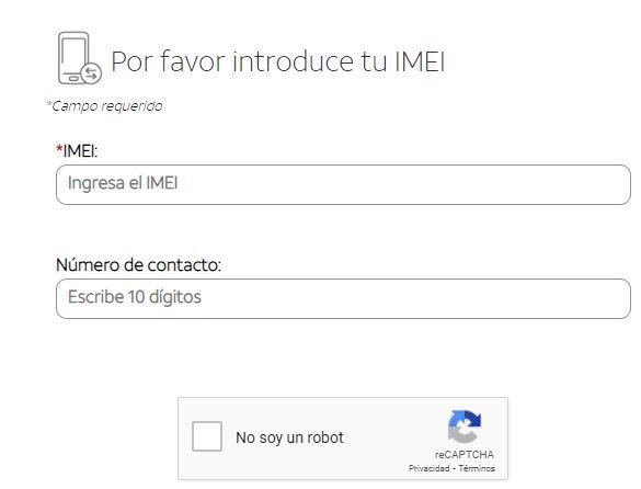 """Casillas para poner tu número de teléfono, el IMEI de tu celular, y para marcar la opción """"No soy un robot"""" de la página web de AT&T para obtener el código para liberar tu teléfono."""