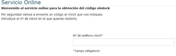 Página web de Movistar para obtener tu código de desbloqueo para liberar tu móvil, la cual te pide tu número de teléfono para enviarte un código.