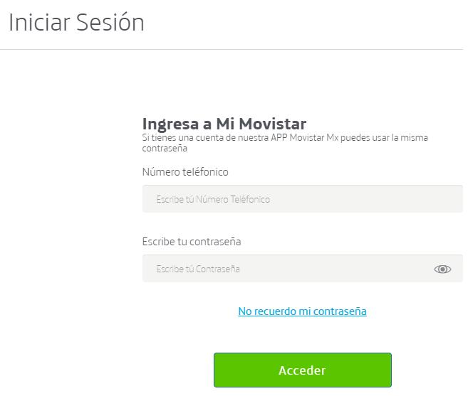 """Página de inicio de sesión para entrar a tu cuenta de Movistar, en donde se muestra el botón """"Acceder""""."""